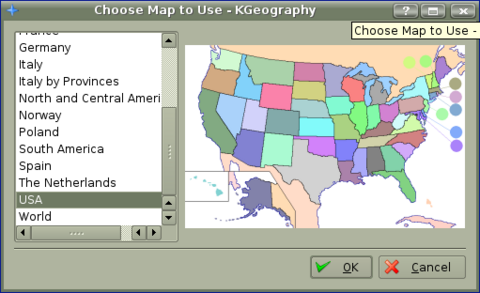 Figure 4. The Selection of USA Map for KGeography