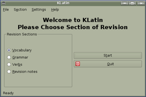 Figure 6. The Home Screen for KLatin