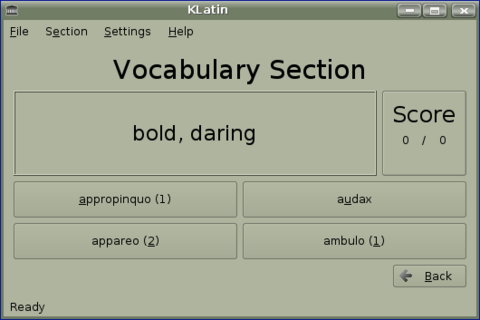 Figure 7. KLatin's Vocabulary Screen