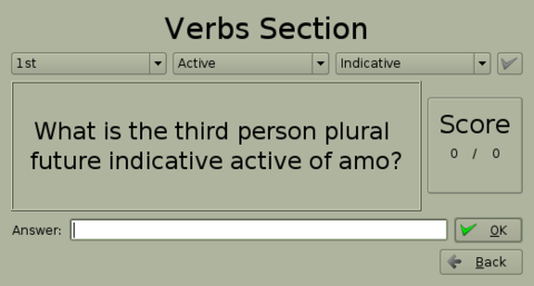 Figure 9. Verb screen—note the drop-down tabs above.